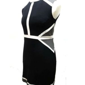 PINK MARTINI Black Dress Geo Lines Formal Cotton